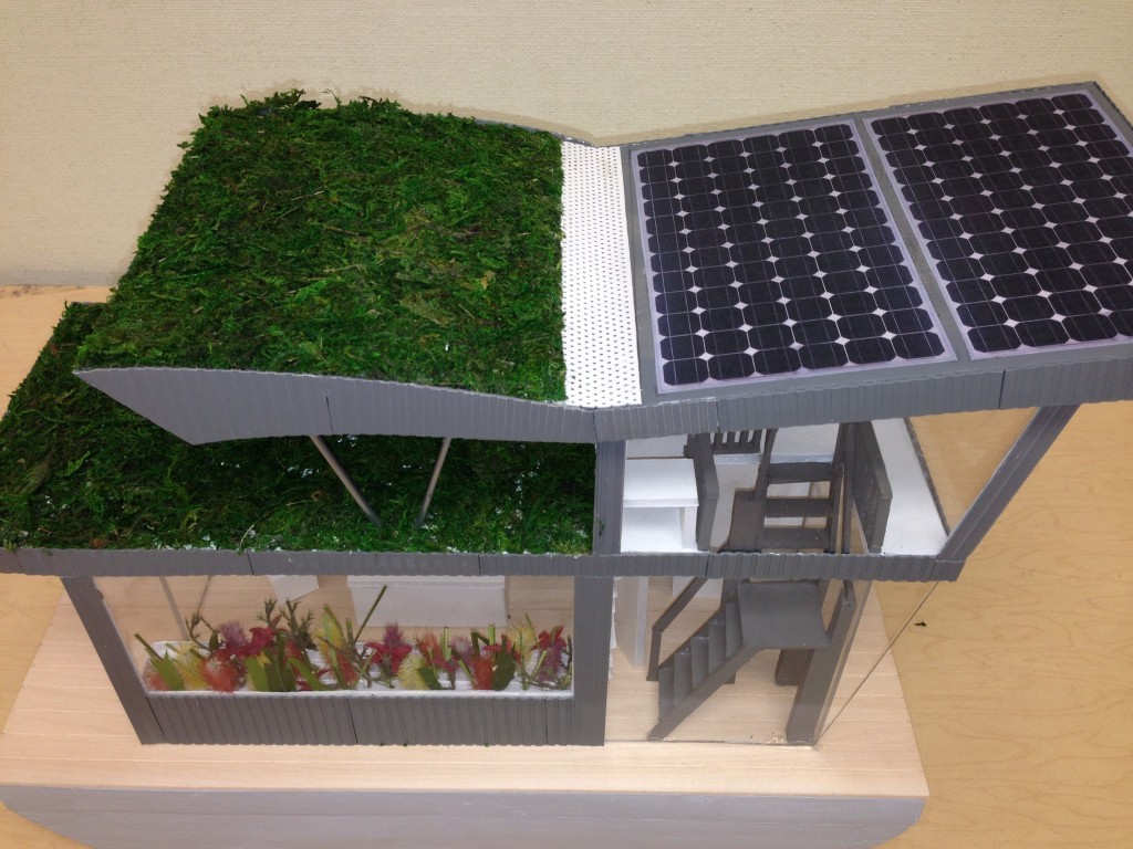 "This model of a house boat embodies a variety of green building principles, one of which is energy efficiency.  Passive solar design and low-e glazing help improve thermal efficiency, while photovoltaics produce renewable energy, and Energy Star equipment increases electrical efficiency. Beyond efficiency, the boat also has a green roof for food production and a cistern to capture rainwater.  Constructed wetlands on-board use local species to treat wastewater generated by the boat, and also serve an ecological restoration function.  Nutrient-rich lake water containing unwanted algae blooms is pumped through the wetlands, which digest excess nutrients to improve lake water quality.  In the words of UVM students Brynna Barbour and Vanessia Lam who designed and built the model, ""it's a sustainable house boat design that is completely off the grid and is able to self-regulate while purifying the water that it calls home."""