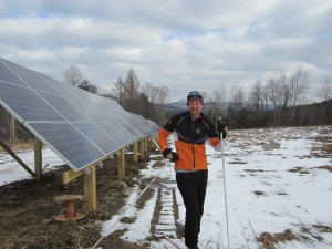 In Huntington, VT, Sleepy Hollow Ski Center is nearly 100% solar powered. Pictured is Eli Enman.