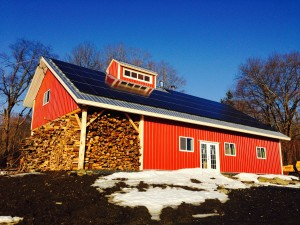 Silloway Maple's 17.5kW solar pv system atop the roof of their new sugar house