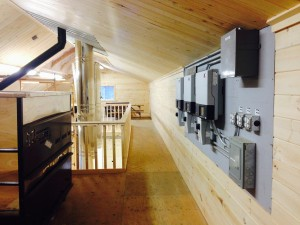 Inverters and electronics inside of the new sugaring building at Silloway Maple