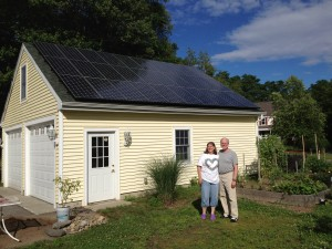 The 7kW solar array plus geothermal heat the Whitley's house in Massachusetts. The solar pv produces 9,000 kWh/year