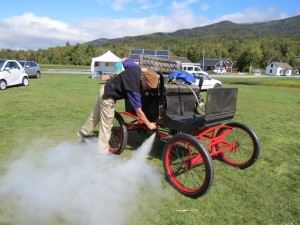 Antique steam-powered car