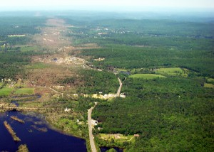Aerial view of tornado damage in western Massachusetts following the June 1, 2011 tornados. Photo by Massachusetts Department of Environmental Protection