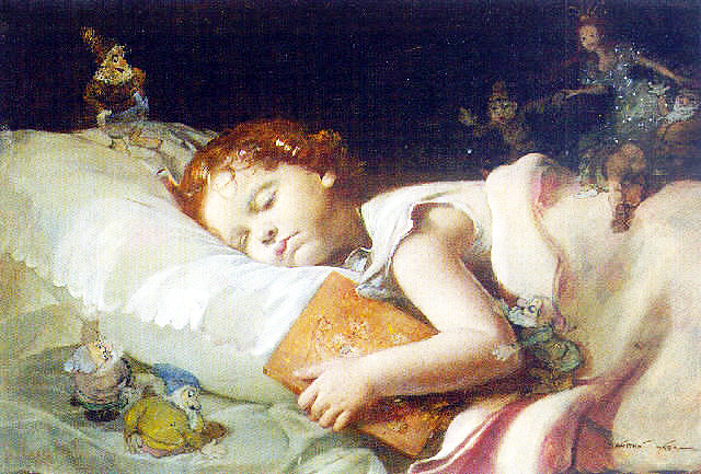 Sweet dreams dreaming of snowhite and the seven dwarves - painting by Franz Schrotzberg Photo: Wikimedia Commons, public domain