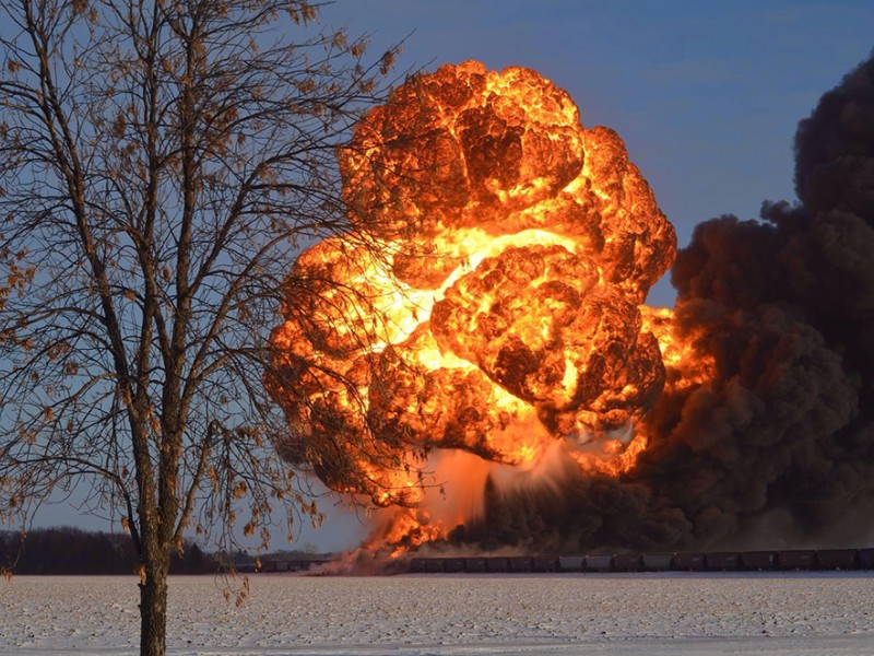 The fireball that followed the derailment and explosion of two trains, one carrying Bakken crude oil, on December 30, 2013, outside Casselton, ND. - U.S. Pipeline and Hazardous Materials Safety Administration