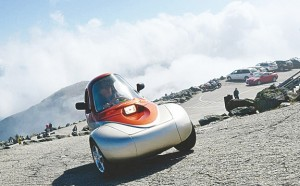 A Sparrow II, a single passenger, zero-emissions, all-electric vehicle perches atop Mount Washington following its climb up the Mount Washington Auto Road during the 2013 Alt Energy Summit. The summit returns to the Auto Road on Sept. 13 and 14. (COURTESY)