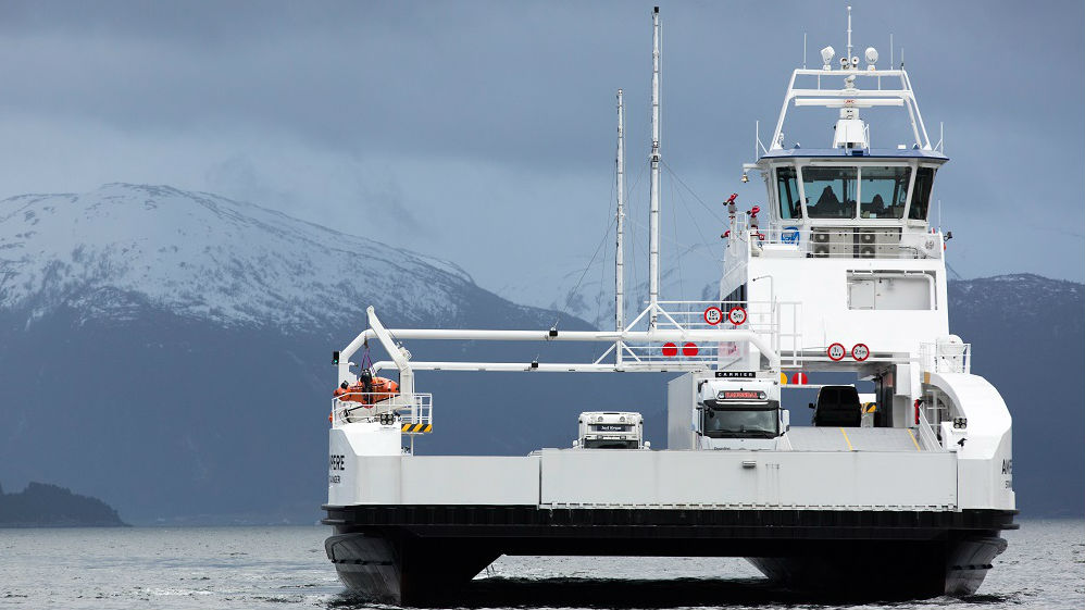 Battery-powered ferry in Norway.