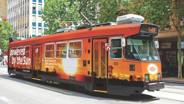 Solar powered tram. Digital visualization by Australia Solar Group.