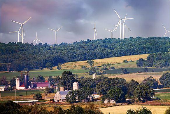 Wind farm in rural America.
