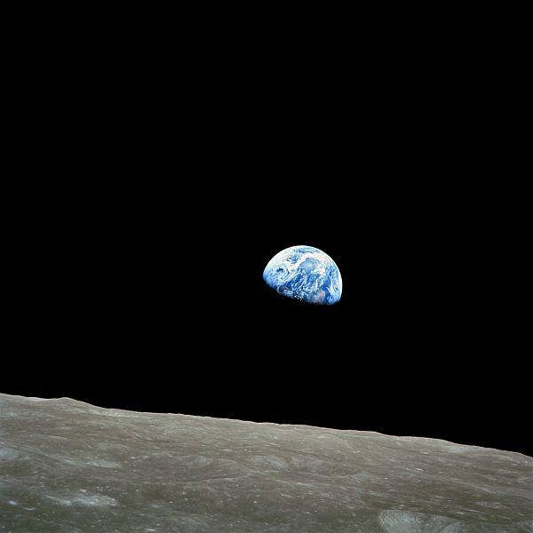 Earthrise. NASA photo, taken by Apollo 8 crew member Bill Anders. Wikimedia Commons.