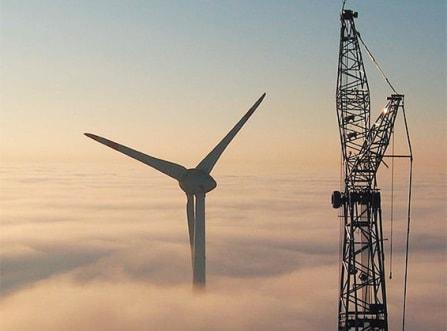 Wind turbine and crane.