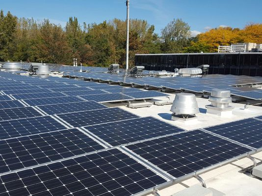 A new solar array on the roof of the Burlington Electric Department headquarters on Pine Street. Photo courtesy of Burlington Electric Department