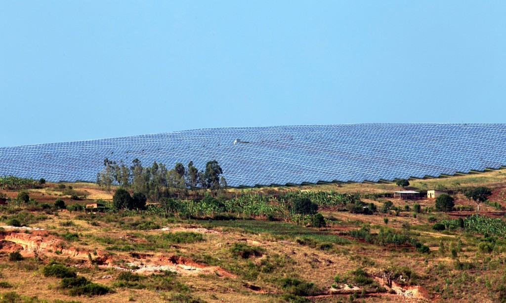 The 8.5-MW solar power plant in Rwanda's famed green hills. Photograph: Cyril Ndegeya / AFP for the Guardian