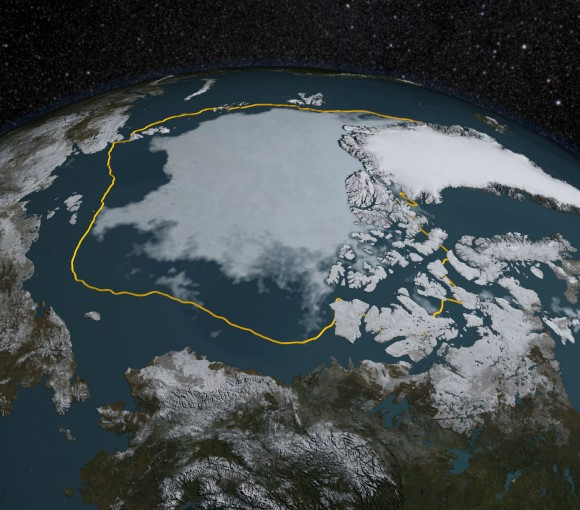 September Arctic sea extent compared to 1981-2000 average portrayed by yellow line (NASA)