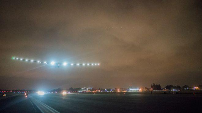 A pre-dawn take-off for Solar Impulse from Moffett Airfield. Solar Impulse photo.